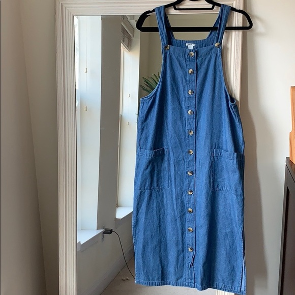 6f6372d0 Forever 21 Dresses | Chambray Button Down Overall Dress S | Poshmark